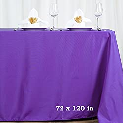 LinenTablecloth Rectangular Polyester Tablecloth, 70 by 120-Inch, Lavender