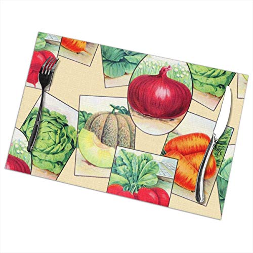LALACO-Design Seed Packets ~ Trianon Cream Placemats Set of 6 Washable Table Mats 12x18 Inch