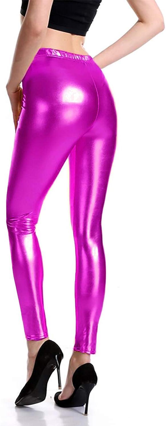 Furein Leggins para Mujer Elásticos Cómodos Acabado Colores Brillantes Metalizados Imitación Cuero con Cintura Elástica