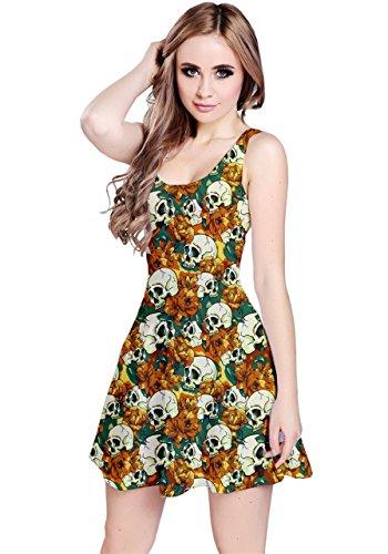 Vestido ondulado CowCow con flores y calaveras sin mangas para mujeres naranja