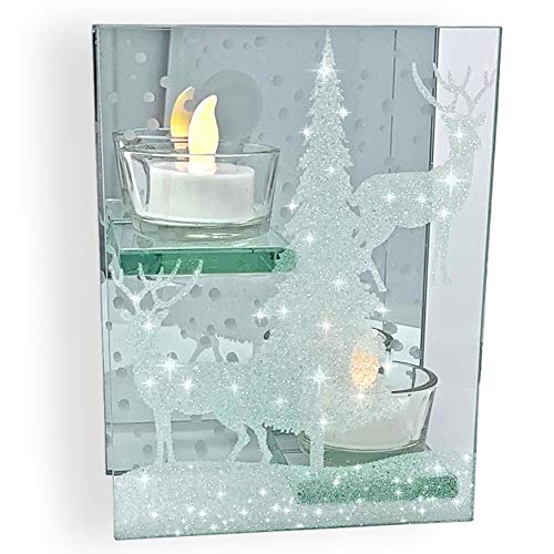 BANBERRY DESIGNS Glitter Candle Holder- Glittery Deer Winter Woodsy Scene Infinity Tealight Holder- Christmas Reindeer- Seasonal Decor