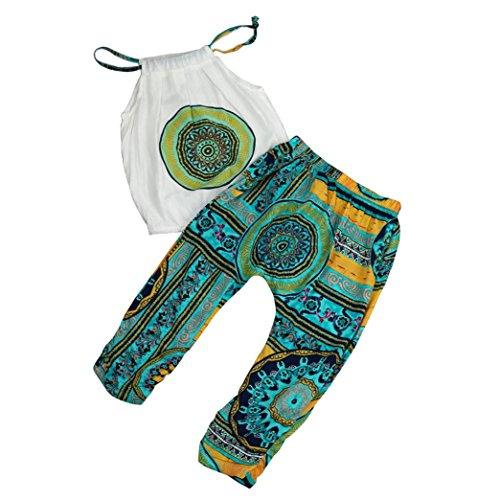IEason 2pcs Toddler Kids Baby Girls T-Shirt Tops+Pants Summer Beach Outfits Clothes Set 2T(1-2Years), Green