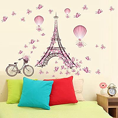 Ducklingup Eiffel Tower Pink Flower Floating Parachute Stationary Bicycle Removable Vinyl Wall Sticker Decal Mural DIY Room Art Wallpaper Bedroom Wall Decor Poster