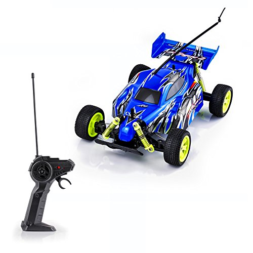 Spire Tech ST-464 RC Buggy Sand Car Remote Fast Racing Tyres Electric Radio Controlled On Off Road Indoor Outdoor Toy for Girls/Boys, Blue, 1:18 Scale ()
