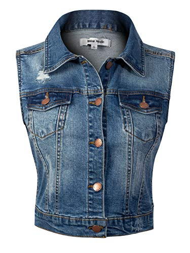 - Design by Olivia Women's Sleeveless Button up Jean Denim Jacket Vest Denim S