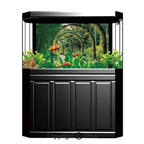 Terrarium Fish Tank Background,Country Decor,Scenic Artificial Arcs With Many Orchids in Botanical Garden Tropical Pants Park,Photography Backdrop for Pictures Party Decoration,W48.03