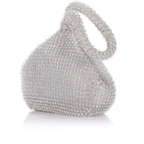 Jian Ya Na Fashion Women Rhinestone Trihedral Clutch Evening Bag Bling Zipper Wedding Purse (Silver) by Jian Ya Na (Image #5)