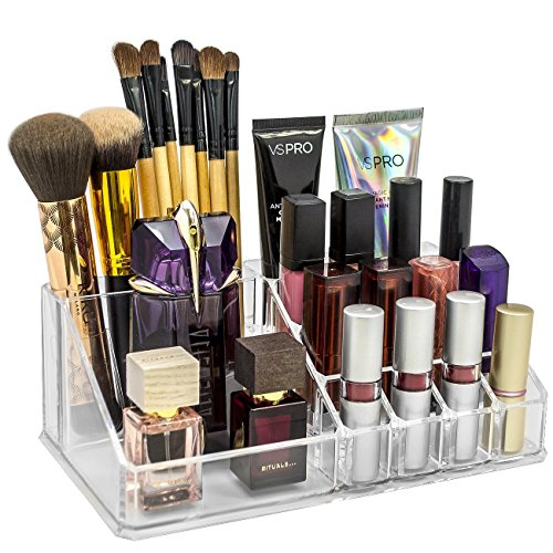 INOVERA (LABEL) 16 Compartment Cosmetic Makeup Jewellery Lipstick Storage Organizer Holder Box, 21.2L x 12.5W x 7.8H, Transparent