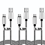 PC Hardware : [3Pack]USB Type C Nylon Braided Cable for lg g5 ,[Certified]USB 2.0 Type C Cord with Reversible Connector Fast Data Sync & Charging Cord for USB Type C Phones&Tablets[56K Resistor]-3.3Feet&black