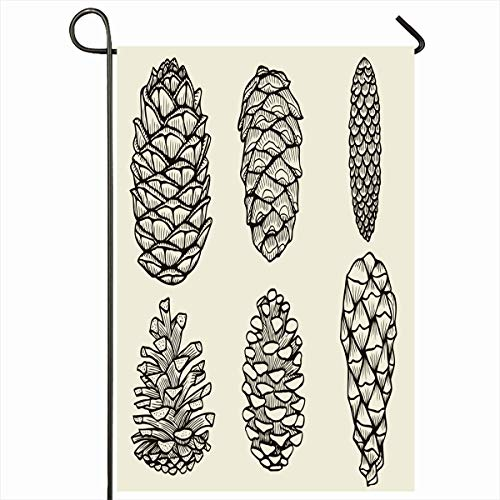 Ahawoso Outdoor Garden Flag 12x18 Inches Branch Conifer Realistic Pine Cones Cedar Spruce Fir Christmas Nature Sketch Tree Black Botanical Doodle Design Retro Seasonal Double Sides House Yard Sign