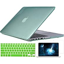 """TOPIDEAL 3in1 Crystal Hard Shell Case Cover for Apple 13.3""""/ 13-inch MacBook Pro with Retina Display Model A1425 /A1502 (NO CD-ROM Drive) + Keyboard Cover + Screen Protector - Green"""
