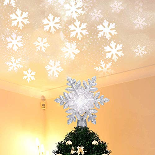 Christmas Tree Topper Lighted with White Snowflake Projector, LED Rotating Snow Projector, 3D Glitter Lighted Sliver Snow Tree Topper for Christmas Tree Decorations & LED Night Nursery Lights