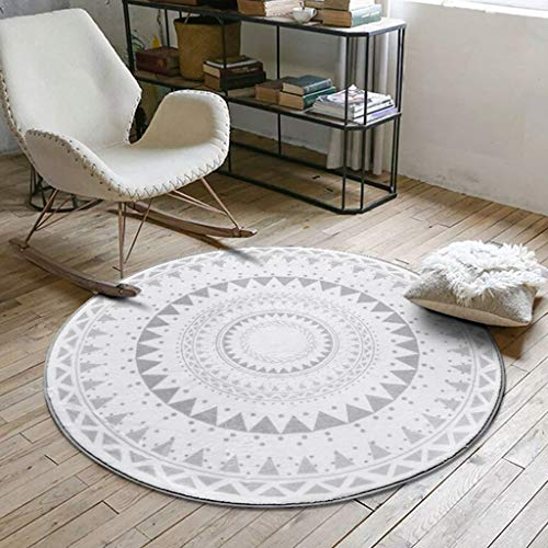 (WONNA New Nordic Gray Series Round Carpet for Living Room Computer Kids Area Rug Children Play)
