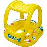 Boia Infantil Inflável com Assento Amarela e Cobertura para Bebê