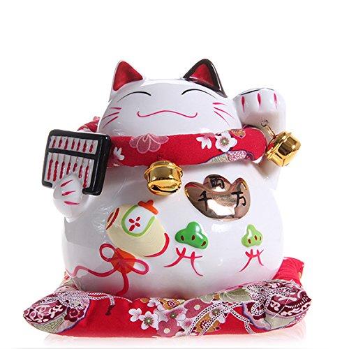 Ceramic Japanese Maneki Neko Money Lucky Cat Abacus Style