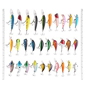 LotFancy 30 PCS Fishing Lures Crankbaits Swimbaits Topwater Baits, Bass Minnow Popper Walleye Baits, Length From 1.57 to 3.66 Inches