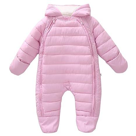Vine Bebé Niñas Traje de Nieve Pelele Mameluco con Capucha Invierno Trajes de Una Pieza, Rosa 3-6 Meses