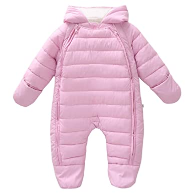 16d86141691e Baby One-Piece Snowsuit Hooded Romper Cotton Onesie Winter Outwear ...