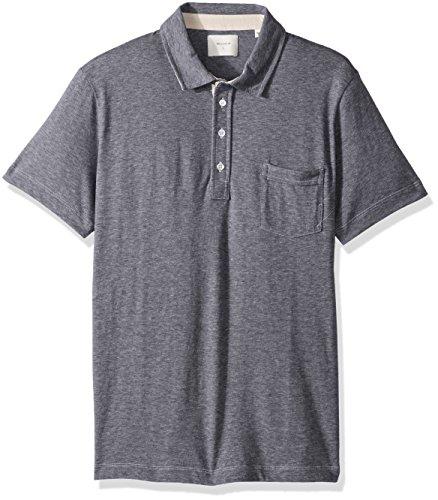- Billy Reid Men's Short Sleeve Pensacola Polo With Pocket, Navy Micro Stripe, XX-Large