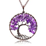 Uniki Tree of Life Pendant Amethyst Rose Crystal Necklace Gemstone Chakra Jewelry Christmas Gifts (amethyst)