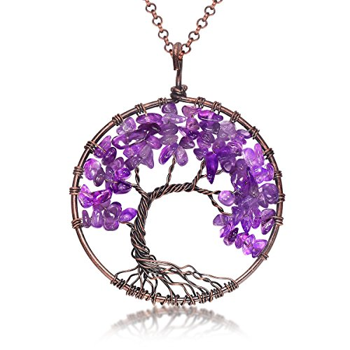 Amethyst pendants amazon uniki tree of life pendant amethyst rose peridot chakra crystal necklace gemstone jewelry great gifts amethyst mozeypictures Images