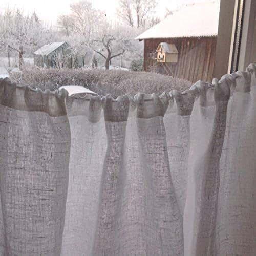 Linen Curtains Amazon Com: Amazon.com: Cafe Curtain, Linen Cafe Curtain, White Linen