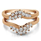 TwoBirch Fancy Bypass Chevron Style Ring Guard Enhancer with 0.66 carats of Cubic Zirconia in Rose Gold Plated Sterling Silver