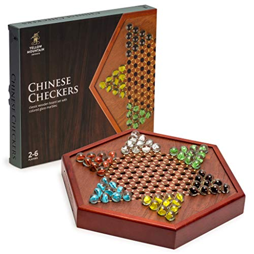 Yellow Mountain Imports Chinese Checkers Game Set with Glass Marbles, 16mm and 12.5 Inch Wooden Board (Chinese Board Checkers Wood)