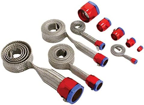With Red//Blue Clamps Ecklers Premier Quality Products 33-261357 Camaro Hose Cover Kit Stainless Steel Universal
