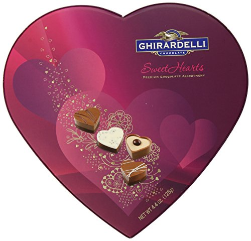 Ghirardelli Valentines Day Sweethearts Heart Shaped Box Gift, 4.4 Ounce -