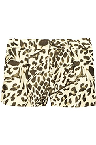 DVF Naples Mikado Wool/Silk Blend Shorts in Leopard Landscape Print (6) ()