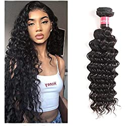 West Kiss Brazilian Deep Weave Hair 100% Human Hair One Bundles Deep Curly Double Weft Unprocessed Natural Black Hair (24 inch bundles)