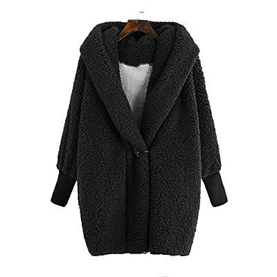 SweatyRocks Women Khaki Hooded Dolman Sleeve Faux Fur Cardigan Coat for Winter at Women's Coats Shop
