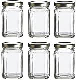 Nakpunar 6 pcs, 6 oz Square Glass Jars for Jam, Honey, Wedding Favors, Shower Favors, Baby Foods, DIY Magnetic Spice Jars