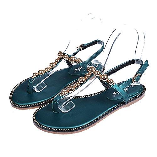 Sandalias de fondo plano de moda de la parte inferior plana sandalias del metal del estilo de Corea Beach decorativo Zapatos Blackish green