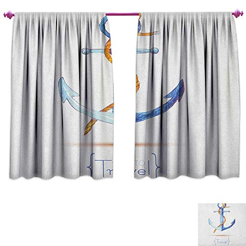 homefeel Anchor Waterproof Window Curtain Watercolors Anchor and Rope Time to Travel Classic Sail Emblem Drogue Voyage Patterned Drape for Glass Door W108 x L72 Blue White Brown (Door Sill Emblems)