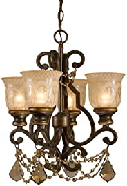 Crystorama 7504-BU-GTS Crystal Accents Four Light Mini Chandeliers from Norwalk collection in Bronze/Darkfinis