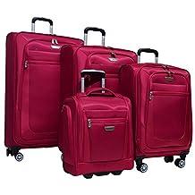 "Ricardo Eureka 4 Piece Deluxe Superlight Luggage Set: 30"", 26"", 21"", & Underseat Bag (Raspberry)"