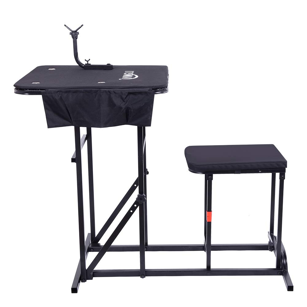 VINGLI Portable Rifles Shooting Table Seat Set, Adjustable Height Bench Gun Rest with Ammo Pockets for Outdoor Range