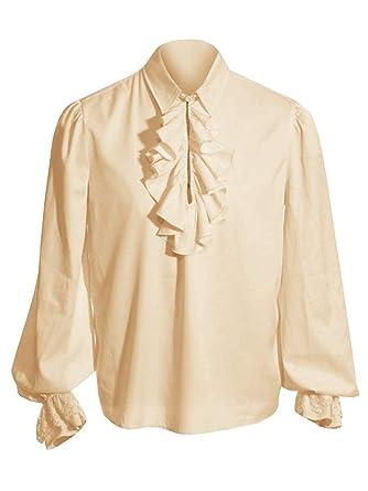 508f58f6ac8 Amazon.com  CNJFJ Mens Vintage Medieval Lace Ruffled Costume Shirt Long  Sleeve Viking Renaissance Pirate Cosplay  Clothing