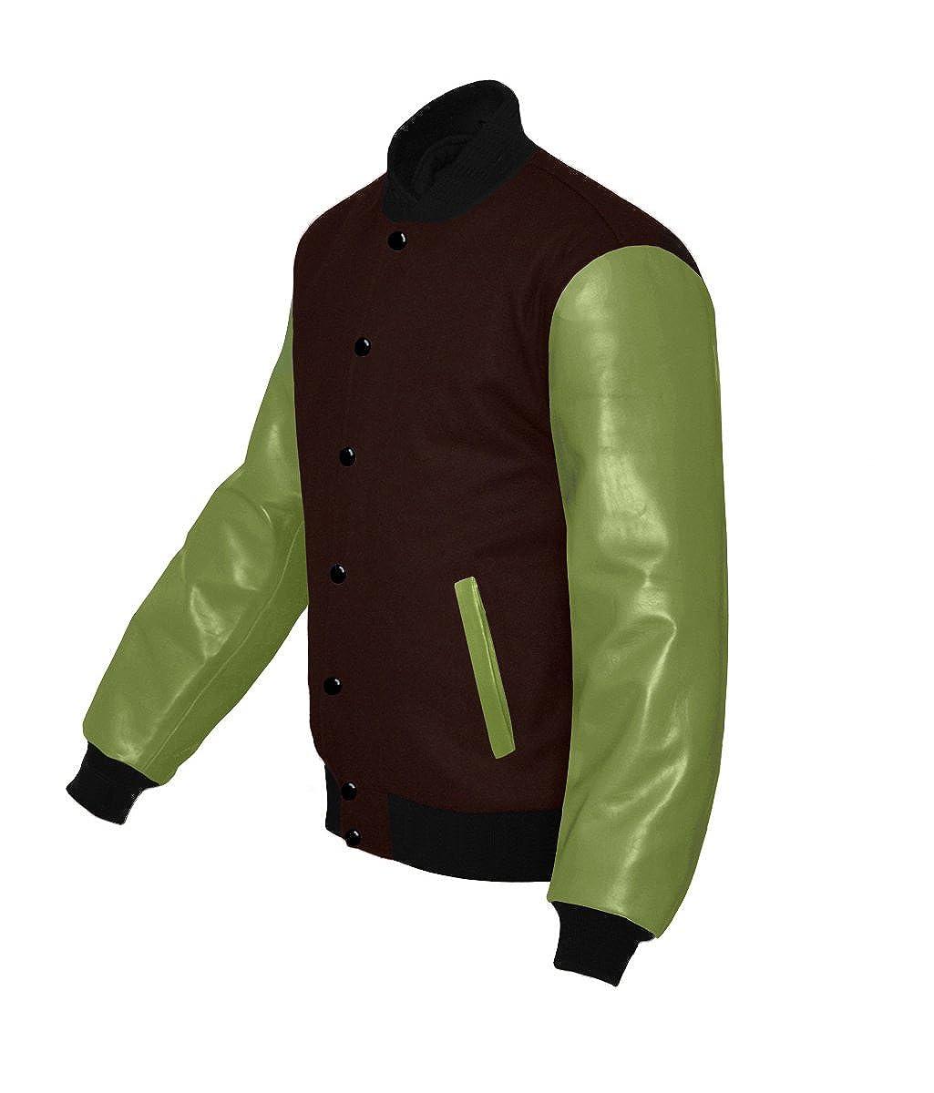 Original American Varsity Green Leather Sleeve Letterman College Baseball Kid Wool Jackets #G-B-B-B