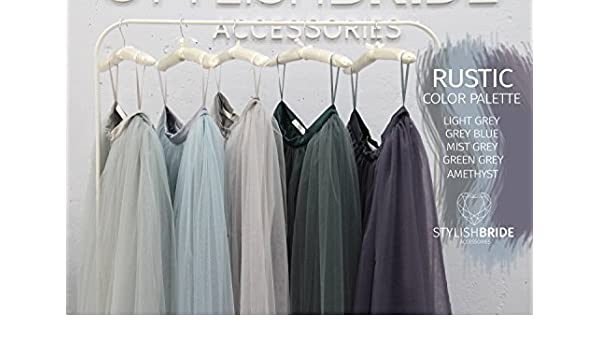 ec47ddeabd Amazon.com: Waterfall Rustic Grey Blue Green Palette Long Tulle Skirt Casual  Floor Women, Tulle Skirt Bridesmaids Tulle Skirt, Wedding Long Tulle Skirt:  ...