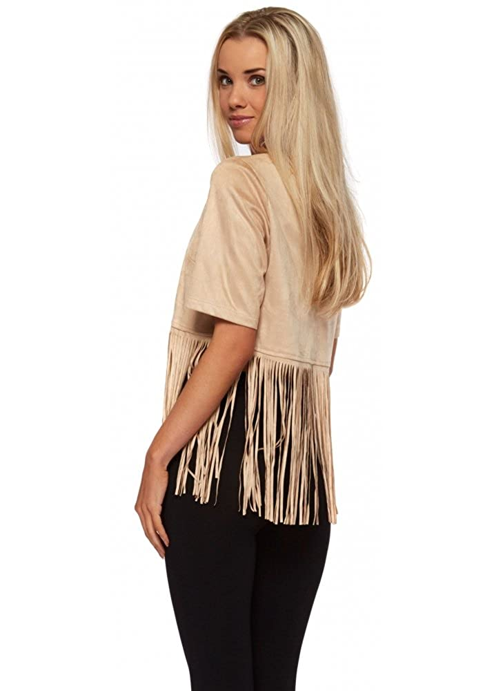 e10cf18205595 Designer Desirables Suedette Long Fringed Crop Top With Gold Zip UK 14  Beige  Amazon.co.uk  Clothing