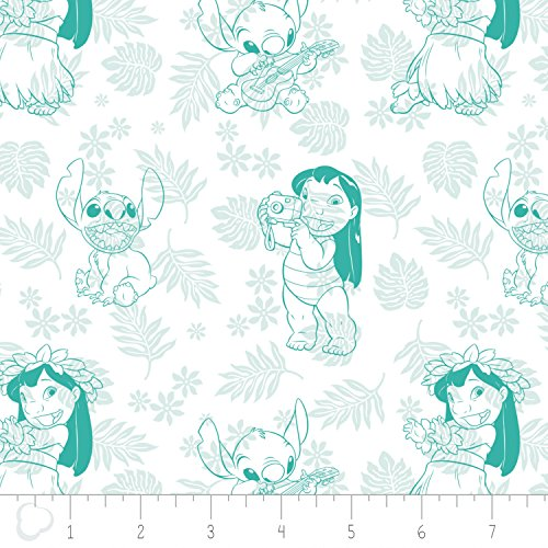 Turquoise Stitch (Disney Fabric Lilo and Stitch Fabric Hula Toile in Turquoise by the Yard)