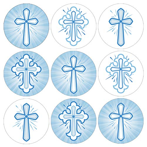 Blue Baptism Party Favor Labels for Boy | Religious Cross | 198 Stickers