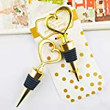 24PCS Wedding Favor for Guests,Matal Alloy Heart Wine Bottle Stopper Champagne Saver with Gift Box for Party Souvenirs Gift Supplies Decoration by WeddParty (Pack of 24 Golden Heart)