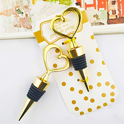 (12PCS Wedding Favor for Guests,Matal Alloy Heart Wine Bottle Stopper Champagne Saver with Gift Box for Party Souvenirs Gift Supplies Decoration by WeddParty (Heart Golden))
