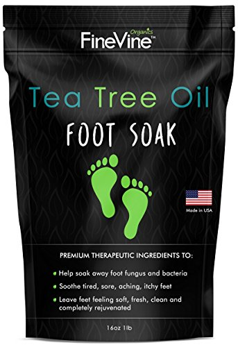 Tea Tree Oil Foot Soak with Epsom Salt - Made in USA - for Toenail Fungus, Athletes Foot, Stubborn Foot Odor Scent, Fungal, Softens Calluses & Soothes Sore Tired - Foot Relief Soak