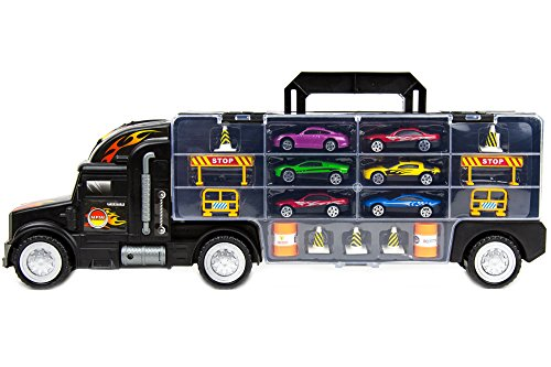 - Toysery Transport Car Carrier Truck Toy for Kids with 6 Alloy Cars and 28 Slots - Long Truck Toy for Boys, Girls & Children - 20