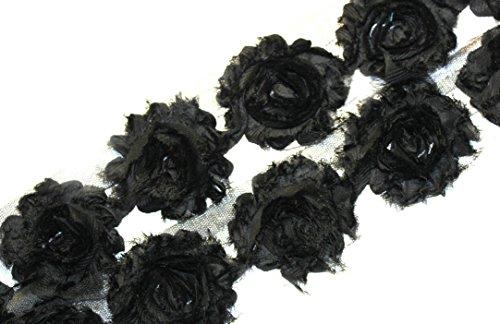 3 Yards/42 Flowers 2.5 Inch Shabby Rose Trim Flowers Chiffon Rosettes (Black)